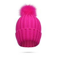 Pompoms Hat Female Winter Beanies For Ladies Acrylic Thick Knitted Hat For Girl Solid Color Skiing Crochet Pink