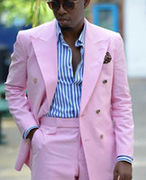 New Fashion Double Breasted Pink Groom Tuxedos Peak Lapel Me...