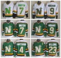 Hommes 4 Craig Hartsburg Jersey Dallas Stars 9 Mike Modano 7 Néal Broten 23 Brian Souffle Bellows Jerseys Vintage CCM Vert Blanc
