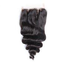 عصبة 100٪ بيرو العذراء الشعر فضفاض موجة الدانتيل إغلاق 3 طريقة الجزء 4x4 تأثير الشعر التمديد اللون الطبيعي صبغة شحن سريع
