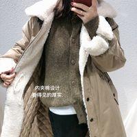 Femme's Down Parkas Moioirue Automne Hiver Harajuku Parka Parka Jacket Occupateur Femme Femmes Vêtements d'impression au cou lâche