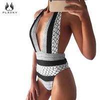 Sexy Retro Branco Preto Listrado Trikini Cintura Alta Swim Maiô Monokini Tanga Swimwear Mulheres One Piece Swimsuit