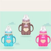 핸들 소프트 입 신생아 음료 교육 젖병으로 유아 아기 귀여운 수유 유리 병 안전 실리콘 우유 병