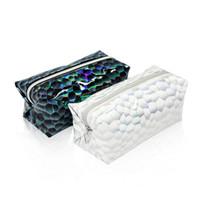 Laser colorido da escala de peixes Pillow Saco Criativo Cosmetic armazenamento caso Hand Wash Bag Pouch Maquiagem Bags HHA-404