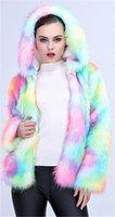 Colorido espessado quente outwear casual manga longa senhoras vestuário mulheres moda desigenr falso casaco de pele curto outerwear