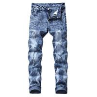 KIMSERE Moda Erkekler Yırtık Kot Pantolon Streç Sıkıntılı Denim Pantolon Delikli Düz Artı Boyutu 30-44 Yıkanmış Mavi