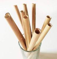Canudos De Bambu 19.5 cm Canudo De Bambu Reutilizáveis Eco Friendly Handcrafted Palhas Naturais Escova De Limpeza 200 pcs OOA6878