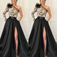 Modern One Shoulder Black Satin A Line Evening Gown Long Sle...