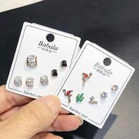 Marke Bolzenohrringart Aussage Ohrringe für Männer Frauen 3 Paare / Los Titanstahlschlüsselblatt Tier Strass frei Großverkauf DHL