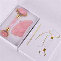 Natural Pink Crystal Jade Roller Double Head Rose Quartz Massage Roller Real Stone Facial Massager Guasha Tool Set With Box R1271