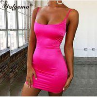 Colysmo cetim stretch Mini vestido Mulheres Sexy Correias Slim Fit Bodycon vestido de festa de néon verde-rosa de camada dupla Robe Femme