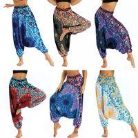 Estilo bohemio para mujer impreso de cintura alta yoga apretado Pantalones Harem Casual Boho suelto Bloomers Pilates Pierna ancha Pantalones Hippy