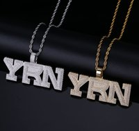 Iced Out Bling YRN Letters Pendant Necklace With Tennis Chai...