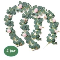 2 Pcs Faux Plant Eucalyptus Vine Garland with Peony Belt Gol...