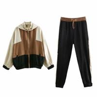 Mujer Trajes Brown chaquetas de béisbol de la vendimia del bombardero chaqueta suéter Tops Lápiz Pantalones de chándal Trajes de mujeres Dos conjuntos de piezas