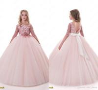 Blush Lace Backless 2017 Arabski Kwiat Girl Dresses Ball Suknia Dziecko Suknie Ślubne Vintage Little Girl Pagews Sukienki
