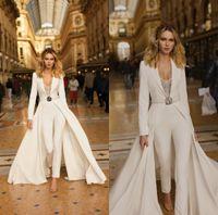 2020 Berta Wedding Overalls Spitze Perlen Springen Eine Linie Strand Hochzeits Kleid Sweep Zug Lange Ärmel Satin Boho Vestidos de Novia