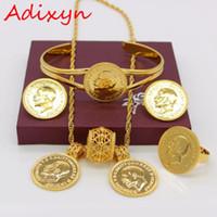 Adixyn цвета золота Монета комплект ювелирных изделий Эфиопский ожерелье / серьги / кольцо / браслет Habesha Wedding Эритрея / Африка подарков