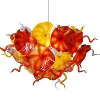 새로운 도착 꽃 플레이트 샹들리에 손 불어 유리 샹들리에 조명 오렌지 옐로우 컬러 체인 LED 조명기구