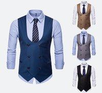 Setwelldrees hommes Gilets Mode double breasted U Forme solide Couleur Bureau des affaires de travail Vestons formelles Polaires Casual (One Vest)