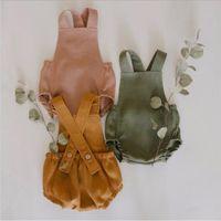 Pagliaccetti del bambino dei capretti delle tute Sling ragazze solido a strisce Tuta Infant casuale della bretella tute del cotone vestiti infantili Climb Onesies B7462