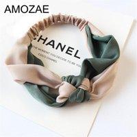 Acessórios de cabelo Amozae Moda Cruz Cruz Retalhos Mulheres Elegante Elástico Headband Titular Ornamento Bandanas Hairbands