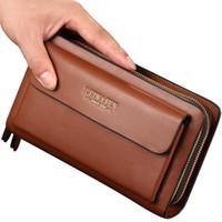 LEINASEN Hot Männer der Art Handtasche PU-Doppel-Reißverschluss Handtasche Männer das Geschäft