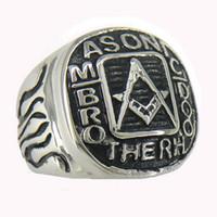 Retro in acciaio inox Hip Hop degli uomini punk massoni massonica anello con sigillo Fratellanza massone associazione fraterna anelli gioielli per gli uomini