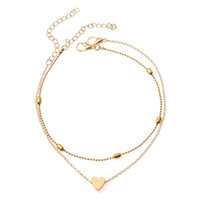 S1418 Hot Fashion Jewelry Double Layer Heart Anklet Chain Alloy Beads Ankle Bracelet Beach Anklets Foot Chains