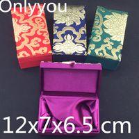 Cotone di lusso Rettangolo pieno broccato di seta Confezione regalo di compleanno da sposa Gioielli imballaggio cinese del mestiere della cassa delle scatole di immagazzinaggio 12x7x6.5 cm 4 pezzi