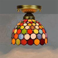 Avrupa Retro 20 cm Tiffany Vitray Lambası Avize Koridor Koridor Balkon Küçük Tavan Işık Renkli Bar Lambaları TF015