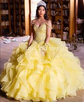 Yellow Princess Ball Gown Quinceanera Dresses 2019 Off Shoulder Cascading Ruffles Crystal Beads Sweep Train Prom Party Gowns For Sweet 15