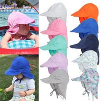 أطفال أطفال قناع قبعات الزهور طباعة الألوان الصلبة الصبي فتاة الصيف القليل حماية الرقبة الشمس