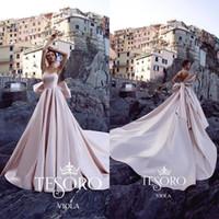Tesoro Blush Rosa 2019 Vestidos de Casamento Do Vintage Uma Linha Querida Arco de Cetim Varredura Trem Plus Size Vestidos de Noiva Praia Robe De Mariée
