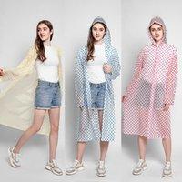 Mode-Wellen-Punkt-Regenmantel mit Hut wiederverwendbarer Reise-Camping Must-Regenkleidung EVA Erwachsene Unisex Raincoat für eine Frau einen Mann HHA1264