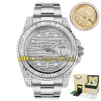 새로운 한정판 럭셔리 40MM GMT 배트맨 116769 116769TBR-74779B 전체 다이아몬드 Beze 팔찌 자동 운동 남성 시계 디자이너 시계