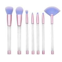 7 pcs Transparent poignée vide pinceaux de maquillage 10 styles bricolage paillettes cristal maquillage pinceau ensemble Make up outils avec sac en PVC