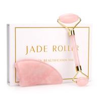 Roller Quarzo Rosa Massager del fronte Lifting strumento naturale di massaggio della giada viso di pietra del rullo della pelle Massaggi Beauty Care Box Set