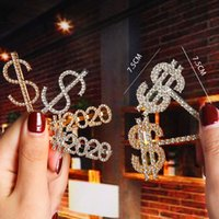 New Design Crystal Rhinestone Letter Hair Clips Gold Hairpin...