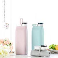 600 ml portátil plegable botella de leche con la tapa plegable que bebe la botella de agua de gran capacidad RRA3226 botella de silicona plegable al aire libre de agua