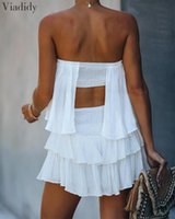 Sexy Ruffles Mini Solid Playsuits Elegant Layered Ruffle Cut...