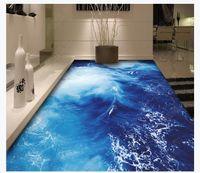 3D personalizzato impermeabile autoadesiva pavimento foto murale carta da parati superficie dell'acqua di mare ondulazione bagno camera da letto adesivi pittura 3D pavimento