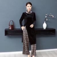 Индия Пакистан Женская одежда Мода 2 шт. Комплект широкие брюки ноги костюм весна осень винтаж элегантный этнический костюм