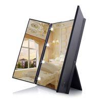 Specchio da trucco portatile da viaggio Specchio da trucco portatile da viaggio a LED 8 Specchietto da trucco per il trucco cosmetico da tavolo a tre lati DH0731