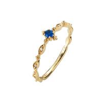 R530 lusso Anelli di nozze gioielli femminile Nuovo stile sottile quadrato blu Anelli per le donne oro Colore bianco dimensioni rystal