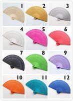 Holz Fans Party Supplies 12 Farben erhältlich Weinlese-Folding Chinesische traditionelle hölzerne Handventilator Wedding Gift Dekorative Holz Fans