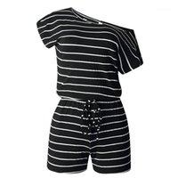 Manga cordón rayado Impreso Calle Womerns Mamelucos Estilo Mujer ropa de verano casual femenino del mono corto atractivo Min