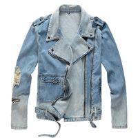 fori Sokotoo Uomo strappati blu giacca di jeans biker per il motociclo cerniere Streetwear girano giù il cappotto collare denim Outerwear