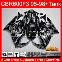 Body + Serbatoio per Honda CBR 600F3 600CC CBR600 F3 95 96 97 98 41HC119 CBR 600 FS F3 Silver Flames CBR600FS CBR600F3 1995 1996 1997 fared