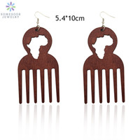 SOMESOOR Big Engraved Afro Ethnic Comb Design Wooden Drop Tr...